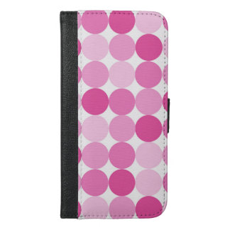 Cute Girly Elegant Pink Polka Dots iPhone 6/6s Plus Wallet Case