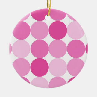 Cute Girly Elegant Pink Polka Dots Round Ceramic Decoration
