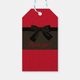 Cute Girly Elegant Red Polka Dots -Black Bow Gift Tags