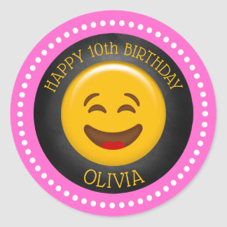 Cute Girly Emoji Birthday Party Classic Round Sticker