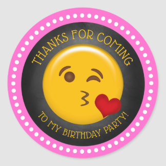 Cute Girly Emoji Birthday Thank You Classic Round Sticker
