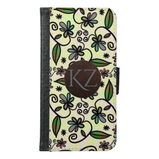 Cute & Girly Floral w/Monogram Samsung Galaxy S6 Wallet Case