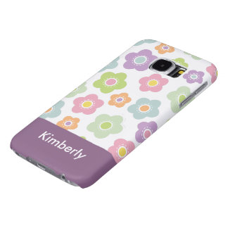 Cute Girly Flower Monogram Samsung Galaxy S6 Cases
