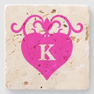 Cute girly fuchsia heart Valentines Day monogram Stone Coaster