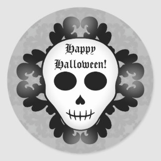 Cute girly gothic glam skull Happy Halloween Round Sticker