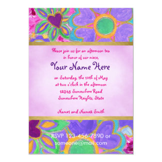 Cute Girly Heart-Shaped Valentine Floral Painting 5x7 Paper Invitation Card