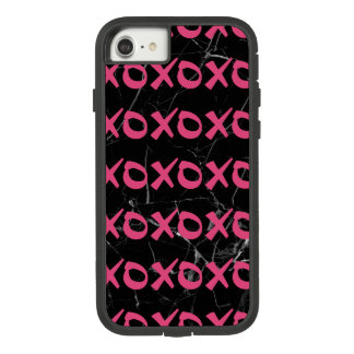 Cute girly hot pink black marble xoxo hugs kisses Case-Mate tough extreme iPhone 8/7 case