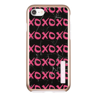 Cute girly hot pink black marble xoxo hugs kisses incipio DualPro shine iPhone 8/7 case