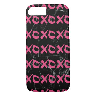 Cute girly hot pink black marble xoxo hugs kisses iPhone 8/7 case