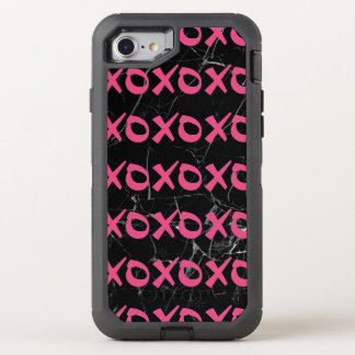 Cute girly hot pink black marble xoxo hugs kisses OtterBox defender iPhone 8/7 case