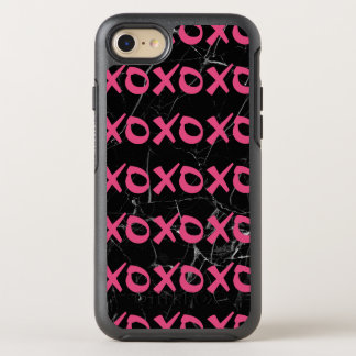Cute girly hot pink black marble xoxo hugs kisses OtterBox symmetry iPhone 8/7 case