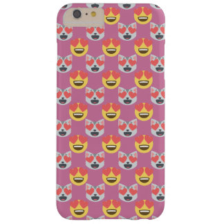 Cute Girly In Love Hearts Cat Emoji Pattern Barely There iPhone 6 Plus Case