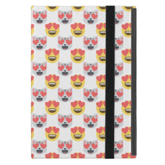 Cute Girly In Love Hearts Cat Emoji Pattern Cover For iPad Mini