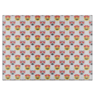 Cute Girly In Love Hearts Cat Emoji Pattern Cutting Board