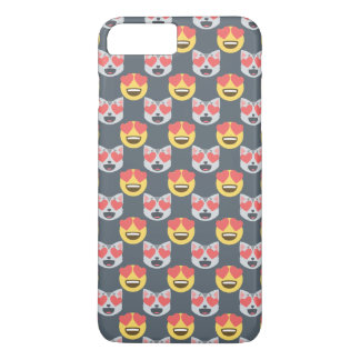Cute Girly In Love Hearts Cat Emoji Pattern iPhone 7 Plus Case