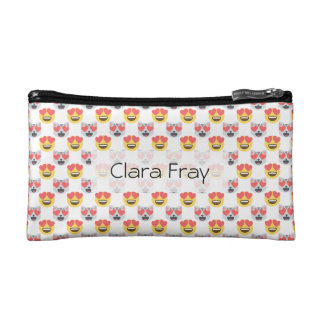 Cute Girly In Love Hearts Cat Emoji Pattern Makeup Bag