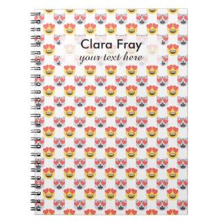 Cute Girly In Love Hearts Cat Emoji Pattern Notebook