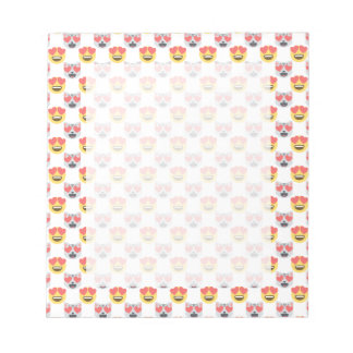Cute Girly In Love Hearts Cat Emoji Pattern Notepad