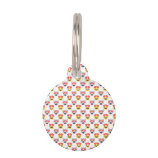 Cute Girly In Love Hearts Cat Emoji Pattern Pet Name Tag