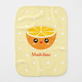 Cute Girly Kawaii Happy Sweet Orange Baby Girl Burp Cloth