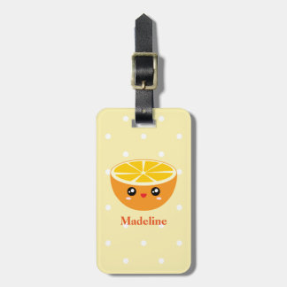 Cute Girly Kawaii Happy Sweet Orange Cartoon Luggage Tag