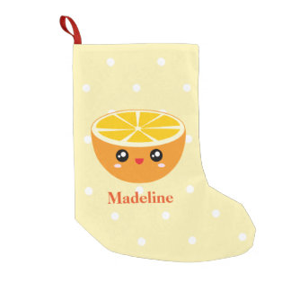 Cute Girly Kawaii Happy Sweet Orange Cartoon Small Christmas Stocking
