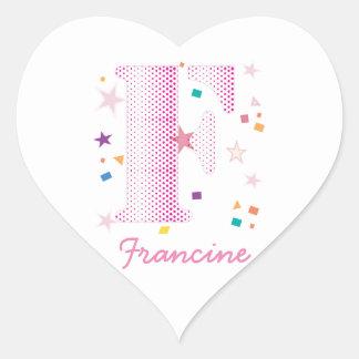 Cute Girly Letter F Monogrammed Baby Heart Sticker