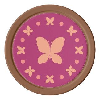 Cute Girly Light Coral, Pink, Magenta Butterflies Poker Chips