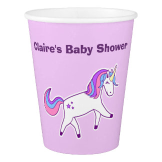 Cute Girly Magical Unicorn Baby Shower Paper Cup