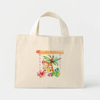 Cute Girly Monkey has a Birthday Mini Tote Bag