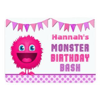 Cute Girly Monster Birthday Bash Card