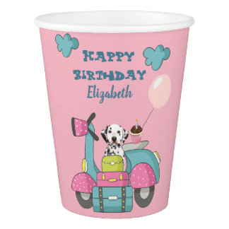 Cute Girly Motorcycle With Happy Birthday Paper Cup