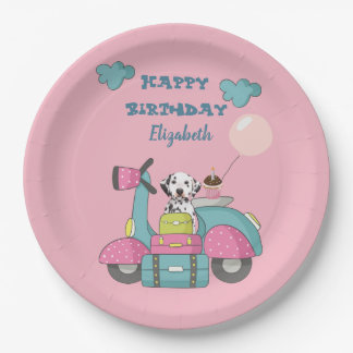 Cute Girly Motorcycle With Happy Birthday Paper Plate