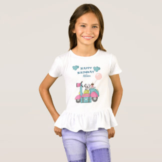 Cute Girly Motorcycle With Happy Birthday T-Shirt
