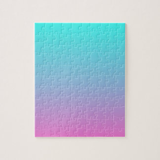 cute girly ombre mermaid pink turquoise aqua blue jigsaw puzzle