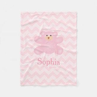 Cute Girly Pastel Pink Teddy Bear Fleece Blanket