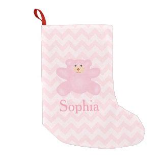 Cute Girly Pastel Pink Teddy Bear Small Christmas Stocking