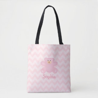 Cute Girly Pastel Pink Teddy Bear Tote Bag