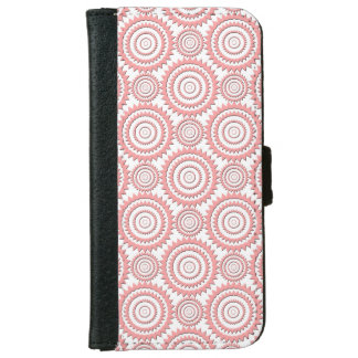 Cute Girly Pattern Pink and White Geometric Circle iPhone 6 Wallet Case