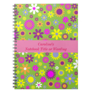 Cute Girly Personalized Mod Flower Pattern Notebooks