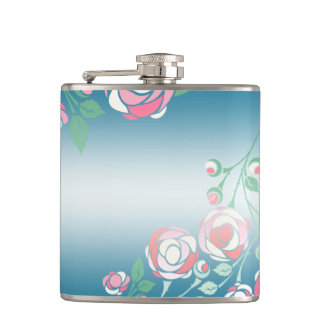 Cute Girly Pink and Blue Floral Flask