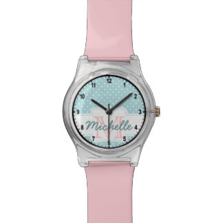 Cute & Girly Pink & Blue Polka Dot Name Monogram Watch