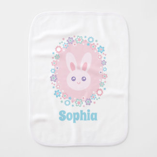 Cute Girly Pink Bunny Rabbit Floral Monogram Burp Cloth