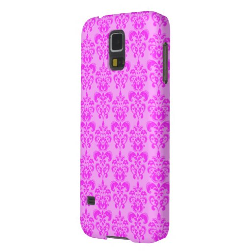 Cute Girly Pink Damask Galaxy S5 Cases