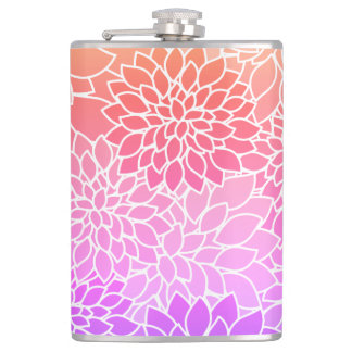 Cute & Girly Pink Floral Pattern Flask 8oz Flask