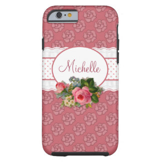 Cute Girly Pink Floral Personalized Tough iPhone 6 Case