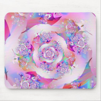 Cute Girly Pink Floral Vector Rose Mouse Pad