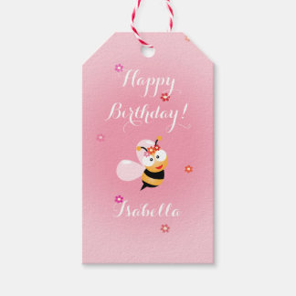 Cute Girly Pink Flower Baby Girl Bee Birthday Gift Tags