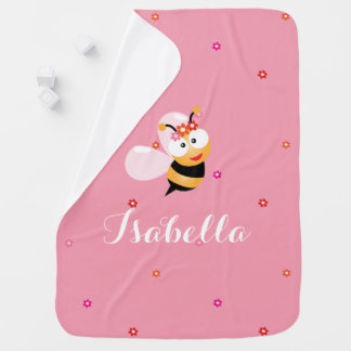 Cute Girly Pink Flower Baby Girl Honey Bee Cartoon Baby Blanket