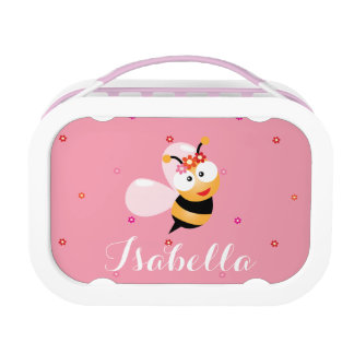 Cute Girly Pink Flower Baby Girl Honey Bee Cartoon Lunch Box